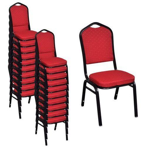 vidaXL Krzesła do jadalni, 20 szt., sztaplowane, materiałowe, czerwone (8718475900917)