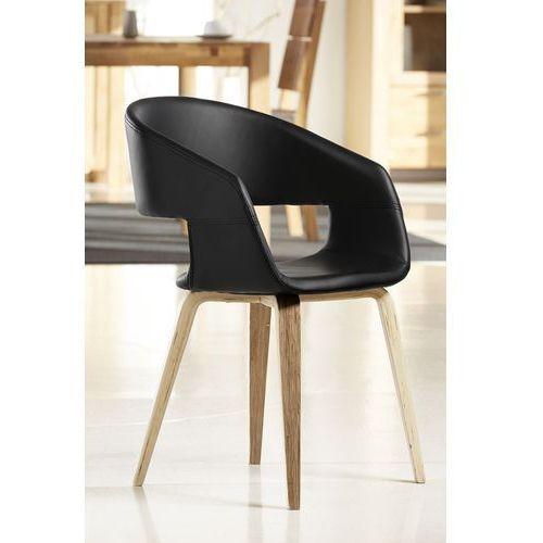 Krzesło nova czarne, skóra ekologiczna, drewno olejowane 22144-1 marki Interstil