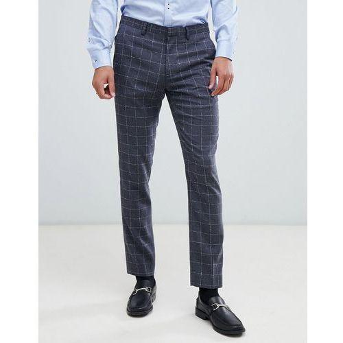 skinny fit suit trouser in window pane check in grey - grey marki Burton menswear