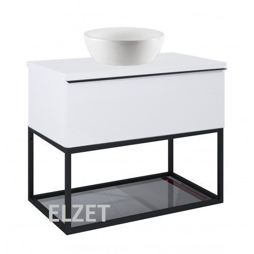 Elita szafka look 1s white matt pod umywalkę nablatową + szklana półka + uchwyt czarny + blat 80 white 167594+167666+167516+166892