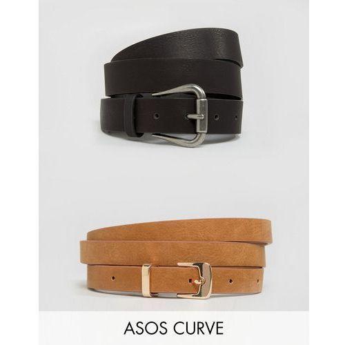 ASOS CURVE 2 Pack Jeans Belt And Skinny Belt Pack Water Based PU - Multi