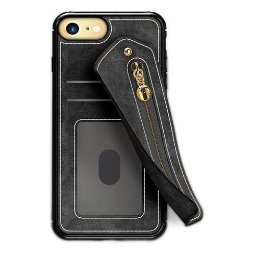 Zizo Nebula Wallet Case - Skórzane etui iPhone 8 / 7 / 6s / 6 z kieszeniami na karty + saszetka na zamek + szkło 9H na ekran (Bl