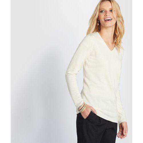 Sweter z dekoltem w kształcie litery v wykonany z wełny, jedwabiu i kaszmiru marki Anne weyburn