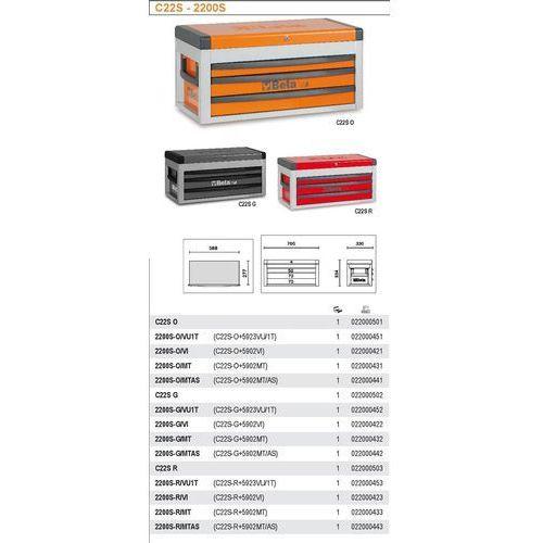 Beta Skrzynia narzędziowa 2200/c22s z zestawem 86 narzędzi, model 2200sr/vu1t, czerwona