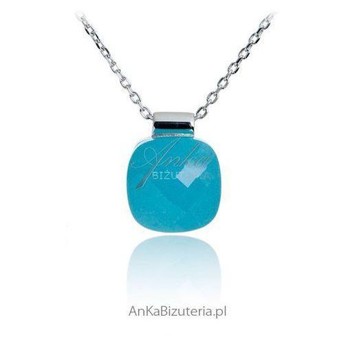 Anka biżuteria Biżuteria srebrna naszyjnik z niebieskim agatem
