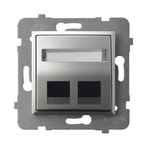 Ospel Obudowa gniazda podwójnego typu keystone skośna gpk-2us/p/18 srebro aria (5907577483609)