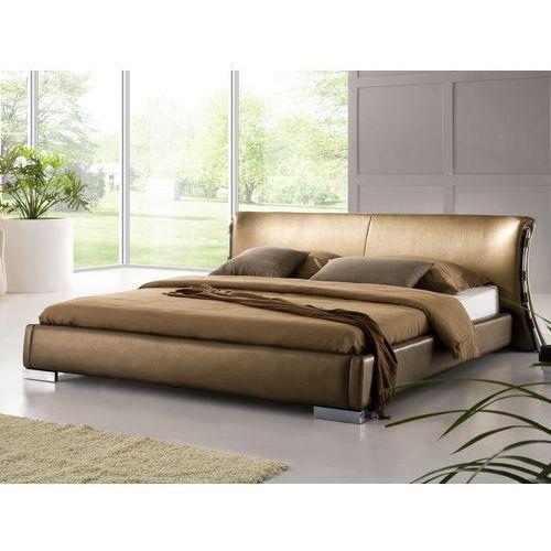 Nowoczesne łóżko ze skóry 160x200 cm ze stelażem stare złoto - paris marki Beliani