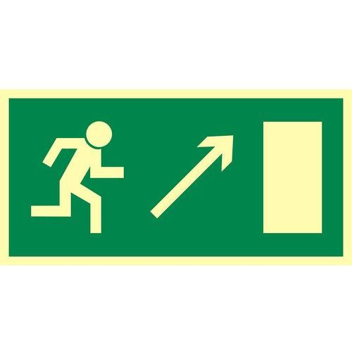 Kierunek do wyjścia drogi ewakuacyjnej w górę w prawo (znak uzupełniający) marki Top design