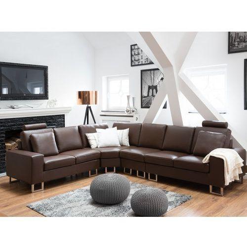 OKAZJA - Stylowa sofa kanapa z brązowej skóry naturalnej narożnik STOCKHOLM, kolor brązowy