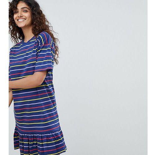 ASOS DESIGN Tall drop hem mini dress in cut about stripe - Multi