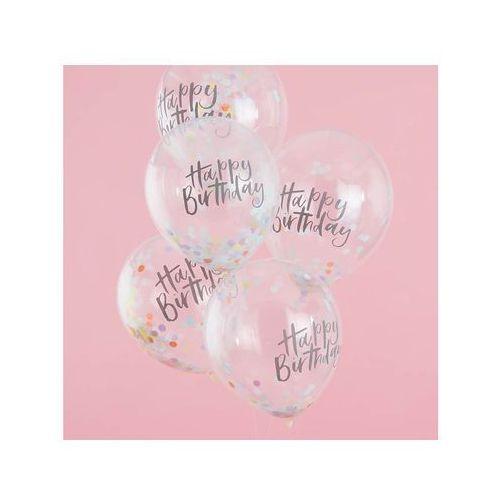 Balony lateksowe z nadrukiem Happy Birthday - 30 cm - 5 szt. (5055995986384)