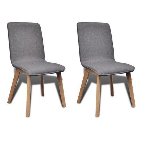 Krzesła jadalniane z dębową ramą, 2 szt, materiał, ciemnoszare, kolor szary