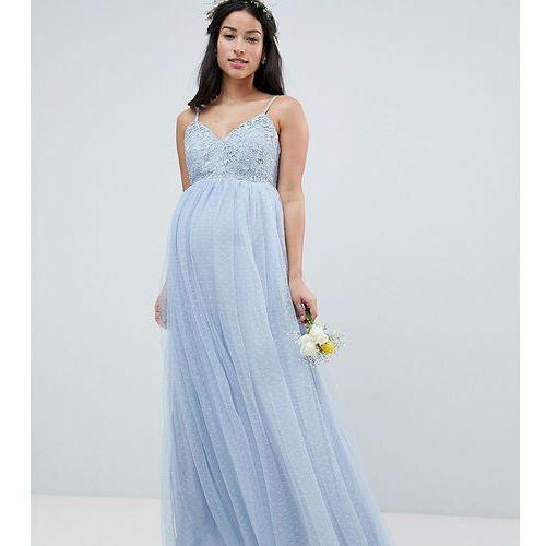 Asos design maternity lace and dobby cami bodice maxi dress - blue marki Asos maternity