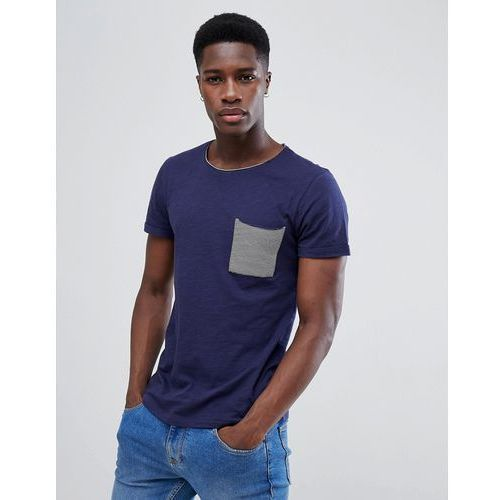 Tom tailor t-shirt with stripe pocket in navy - navy