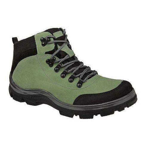 Trzewiki trekkingowe ocieplane 3854 zielone - zielony ||czarny, Kornecki