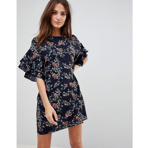 Parisian floral shift dress with flare sleeve - navy