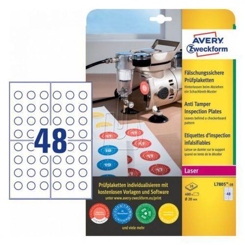 Avery zweckform Tabliczki inspekcyjne plomby  20mm 10 arkuszy l7805-10 (4004182068489)