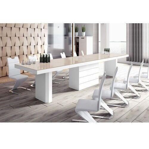 Stół rozkładany KOLOS 140-332 cappuccino-biały połysk