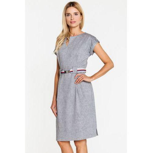 Szara, wizytowa sukienka z lnem - GaPa Fashion, kolor szary