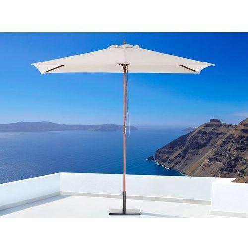 Beliani Parasol ogrodowy - beżowy - 144 x 195 cm - drewniany - flamenco (7105277117369)