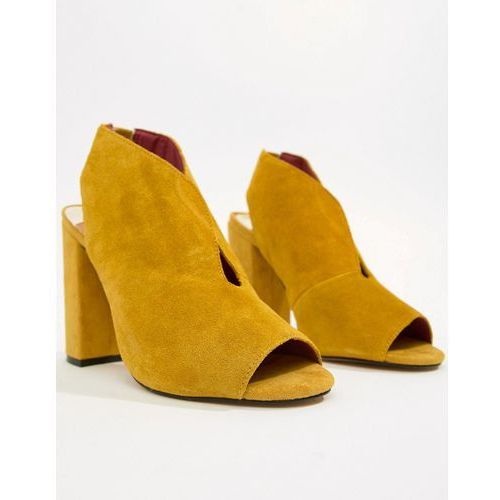 suede v cut heel in yellow - yellow, River island