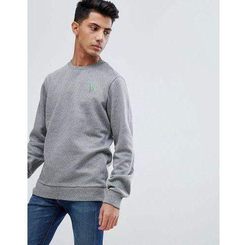 Threadbare Palm Embroidery Crew Neck Sweater - Grey