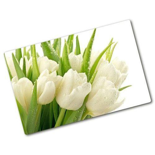 Deska do krojenia szklana Białe tulipany