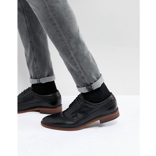 brogue shoes in black leather with natural sole - black marki Asos