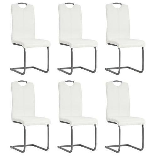 Vidaxl Krzesła do jadalni, 6 szt., sztuczna skóra, 43x55x100 cm, białe