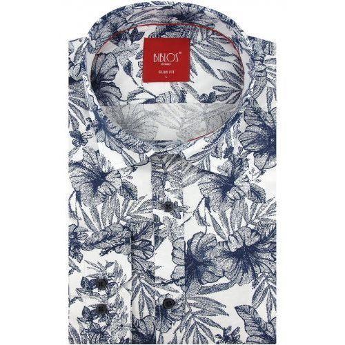 Koszula męska biała w kwiaty slim fit na długi rękaw a169, Biblos