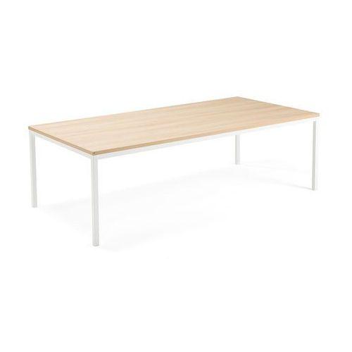 Stół konferencyjny modulus, 2400x1200 mm, rama 4 nogi, biały, dąb marki Aj produkty