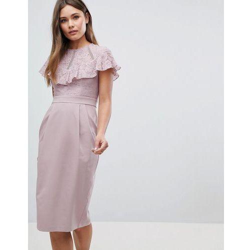 ASOS Lace Insert Pencil Midi Dress - Beige