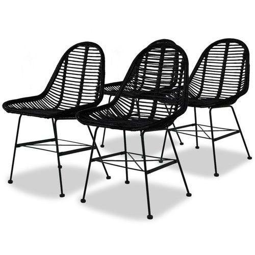Krzesła do jadalni, 4 szt., naturalny rattan, czarne marki Vidaxl