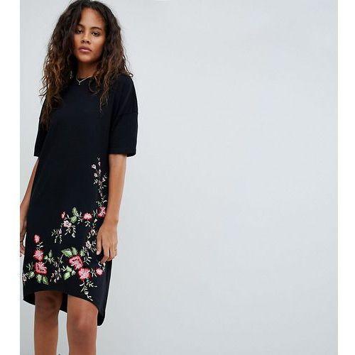 Asos design tall embroidered hem t-shirt dress with hi lo hem - black marki Asos tall