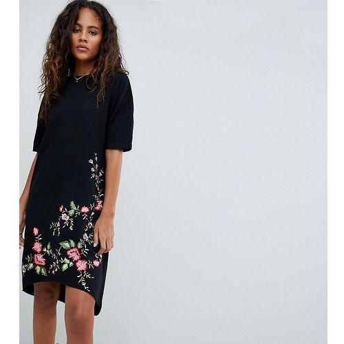 Asos tall Asos design tall embroidered hem t-shirt dress with hi lo hem - black