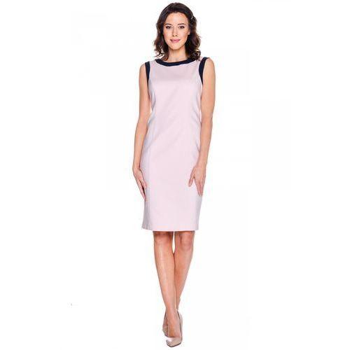 Klasyczna sukienka w kolorze pudrowego różu - Bialcon