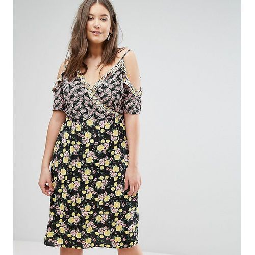 New look plus New look curve mixed print cold shoulder wrap dress - white