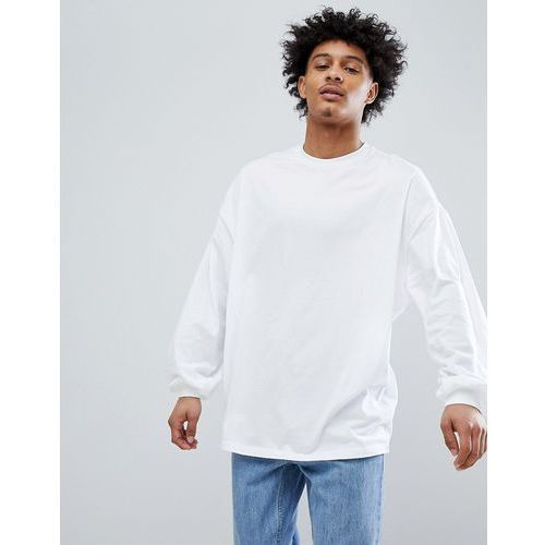 Asos design oversized long sleeve t-shirt with bellowing sleeve in white - white