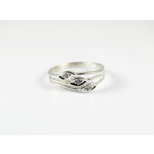 Srebrny pierścionek 925 LIŚCIE BIAŁE OCZKO r. 16