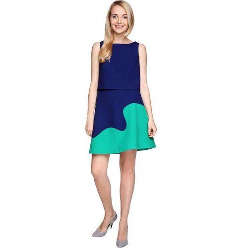 Komplet kobaltowo-zielony top i spódnica, Rina cossack, 36-44