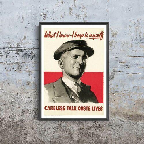 Plakat plakat nieostrożna rozmowa kosztuje życie plakat marki Vintageposteria.pl