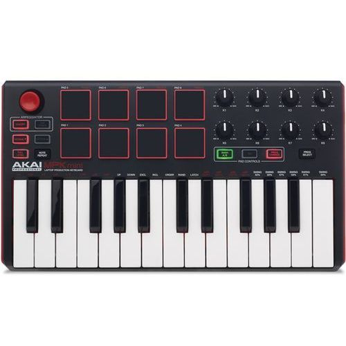 Akai Professional MPK MINI MKII kompaktowych USB MIDI Keyboard & Pad Controller z 25 przyciskami i anschlagdynamischen Pads, MPC Essentials (soni VOX akustycznych i Hybrid 3) (0694318015599)