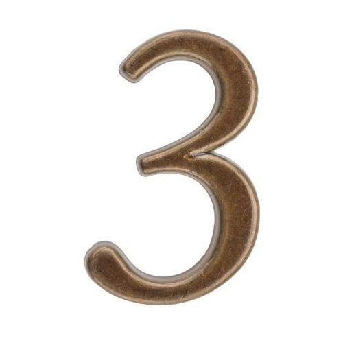 Cyfra 3 wys. 5 cm metalowa brązowa (5901912822993)