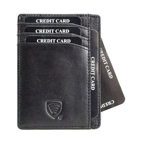✅ skórzane antykradzieżowe etui na karty zbliżeniowe rfid do marynarki - czarny połysk marki Koruma®