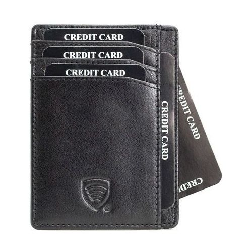 Skórzane etui na karty zbliżeniowe RFID (Czarny) - Czarny połysk z kategorii Etui i pokrowce