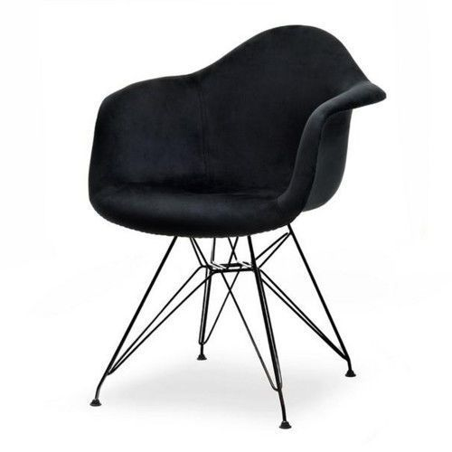Krzesło skandynawskie art105c czarny welur nogi czarne metalowe marki Meblemwm