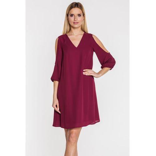 Sukienka z wyciętymi ramionami w kolorze marsala - Bialcon