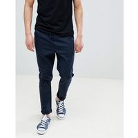 Asos design tapered woven joggers in navy with fixed hem - navy