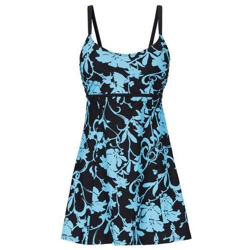 Sukienka kąpielowa wyszczuplająca czarno-turkusowy, Bonprix, M-XXXXL