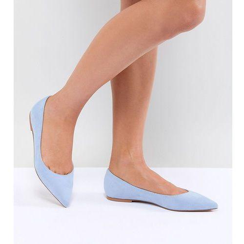 Asos design latch pointed ballet flats - blue